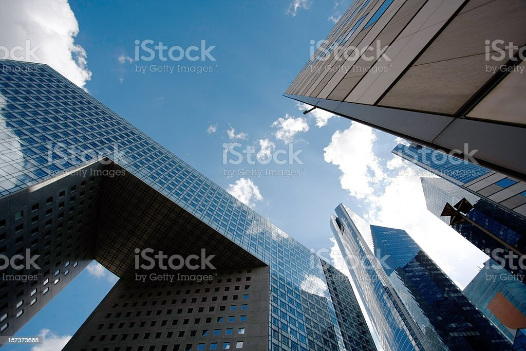 A view of modern architecture and the sky from the ground royalty-free stock photo