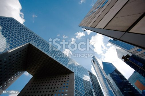 Modern architecture in the business district of La Defense to the west of Paris, France.