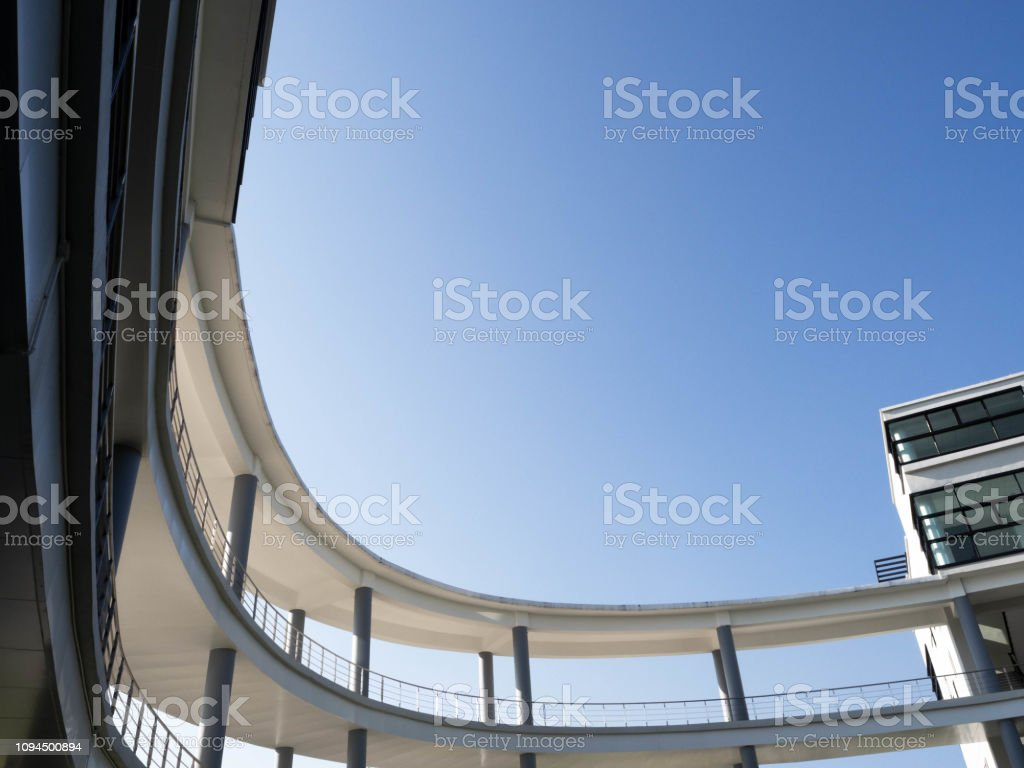 View of modern architecture with curve design,Office building,Sky...