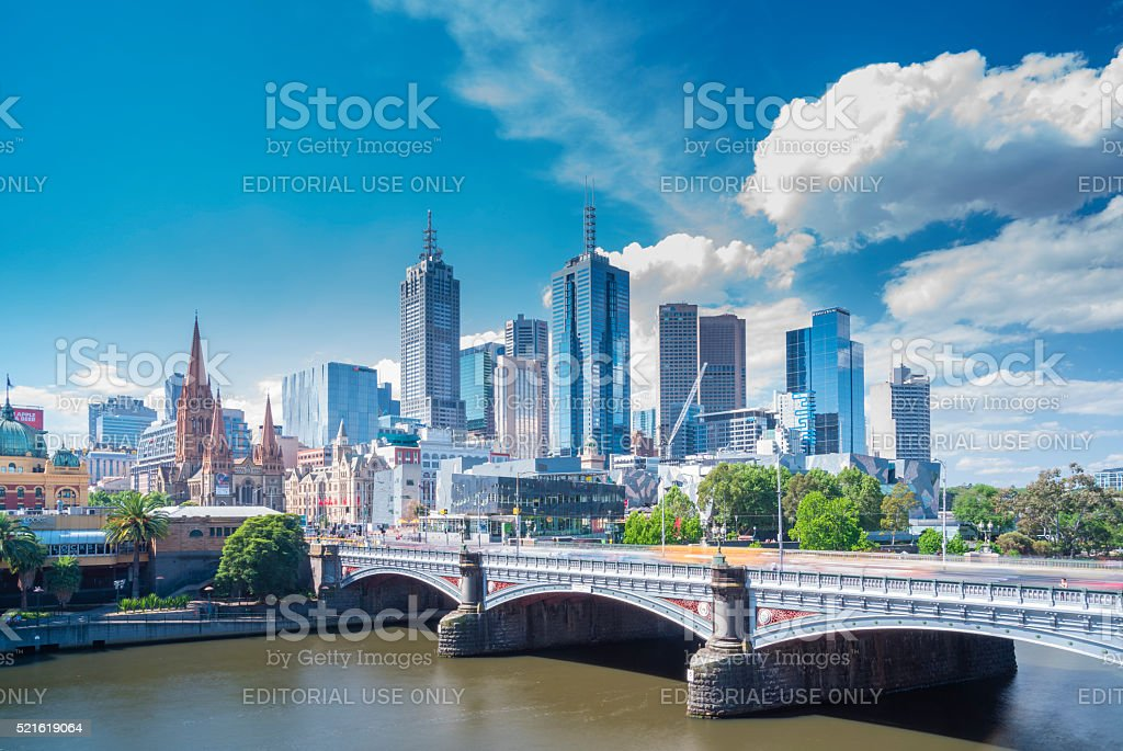 View of modern buildings in Melbourne, Australia stock photo