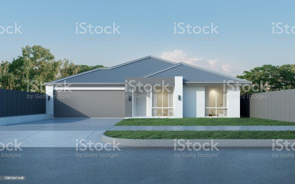 Vista de casa moderna de estilo australiano sobre fondo de cielo azul, diseño de residencia contemporánea. Render 3D. foto de stock libre de derechos