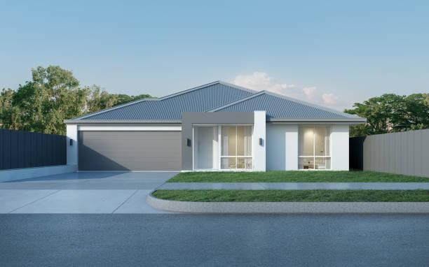 vista da casa moderna em estilo australiano sobre fundo de céu azul, projeto residência contemporânea. renderização 3d. - fachada - fotografias e filmes do acervo