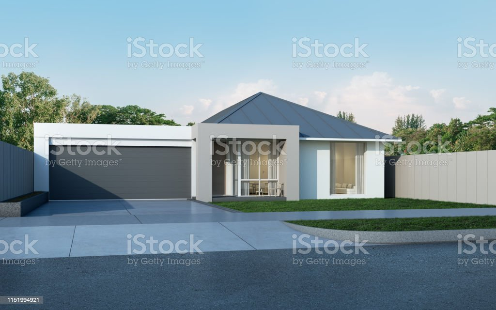 View Of Modern House In Australian Style On Blue Sky Backgroundcontemporary Residence With Metal Sheet Roof Design Housing 3d Rendering Stock Photo Download Image Now Istock