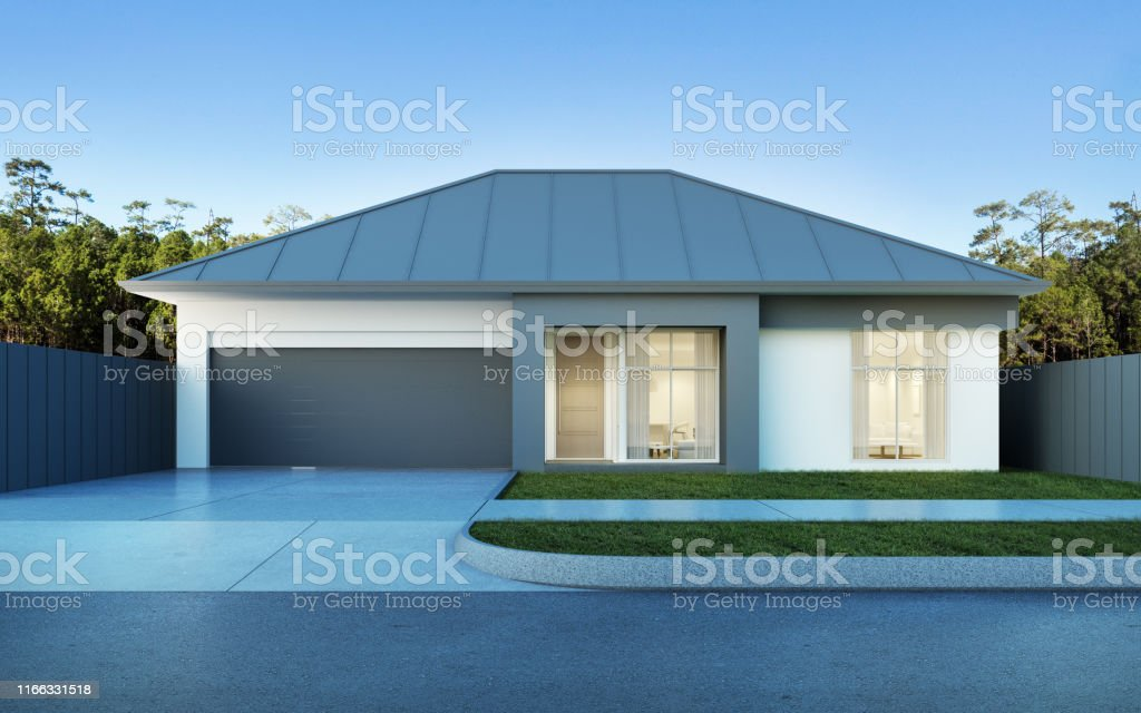 View Of Modern House In Australian Style On Pine Forest And Blue Sky Backgroundsmall Building With Metal Sheet Roof Design 3d Rendering Stock Photo Download Image Now Istock