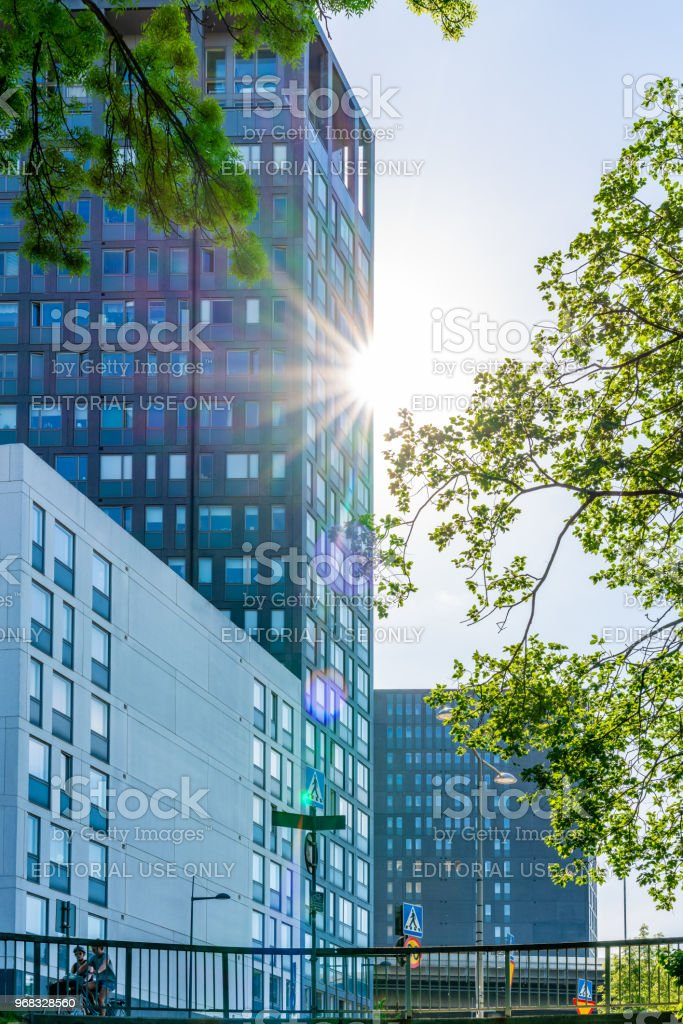 view of modern office building with trees and sun light stock photo