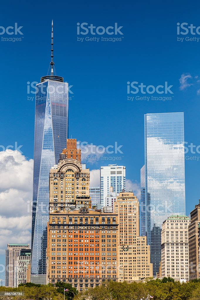 View of modern skyscapers and historic buildings in Lower Manhattan stock photo