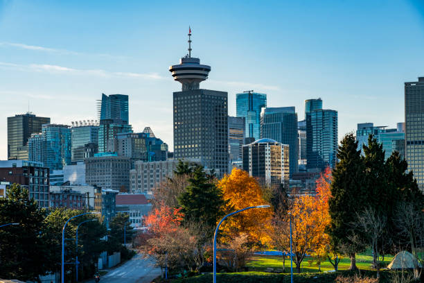 Blick auf moderne Wolkenkratzer in vancouver – Foto
