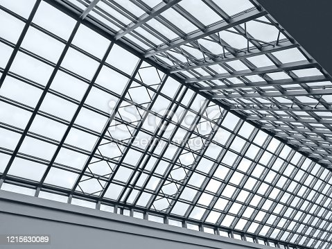 view of modern transparent glass roof. glass dome from inside