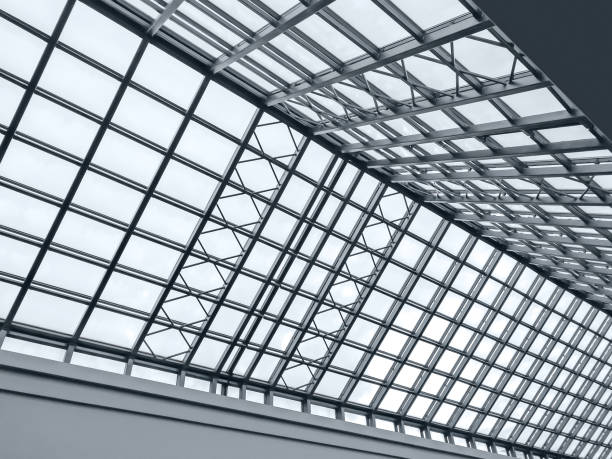 view of modern transparent glass roof stock photo