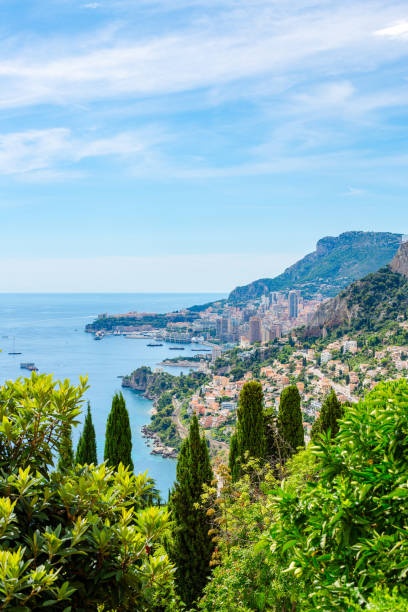 View of Monaco from Roquebrune, France stock photo
