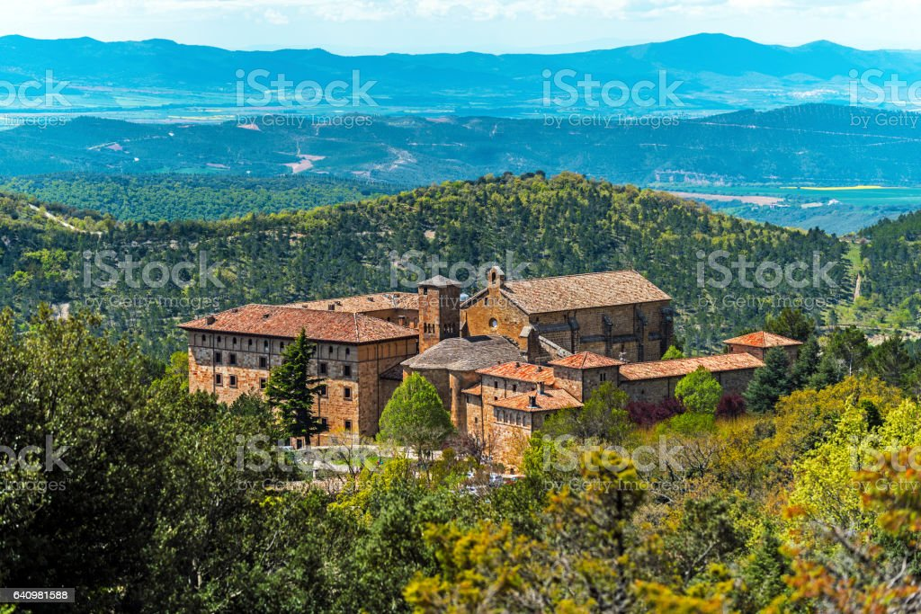 View of Monastery of San Salvador of Leyre stock photo