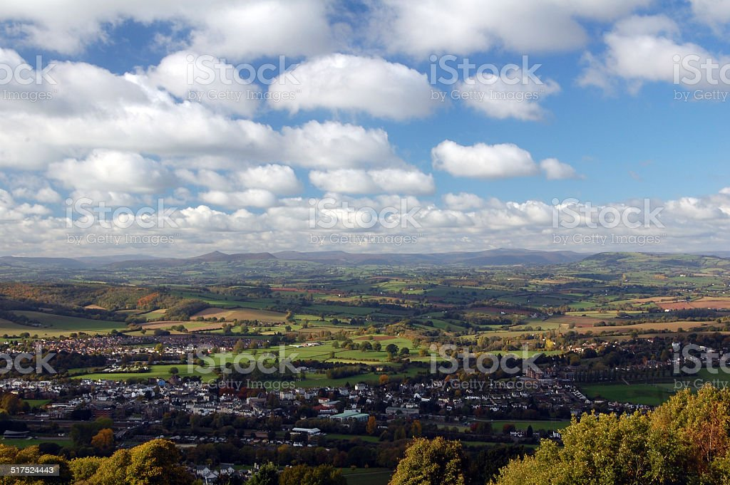 view of monmouth and usk valley stock photo
