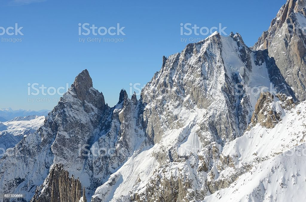 View of Mont Blanc massif, Italy stock photo