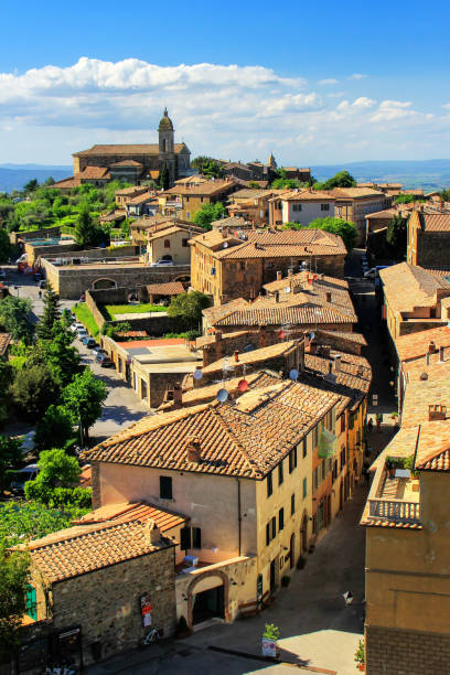 View of Montalcino town from the Fortress in Val d'Orcia, Tuscany, Italy stock photo