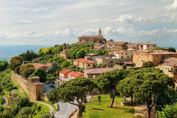 View of Montalcino town from the Fortress, Tuscany, Italy stock photo
