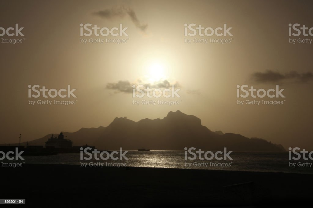 View of Monte Cara mountain from Mindelo, São Vicente, Cape Verde at sunset. stock photo