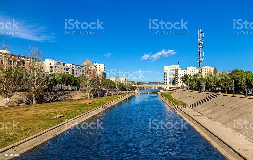 View of Montpellier over the river Lez - France stock photo