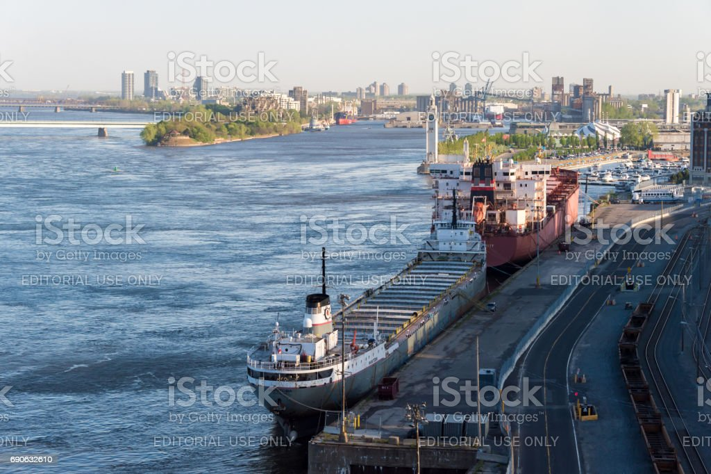 View of Montreal Harbor from Jacques Cartier Bridge stock photo