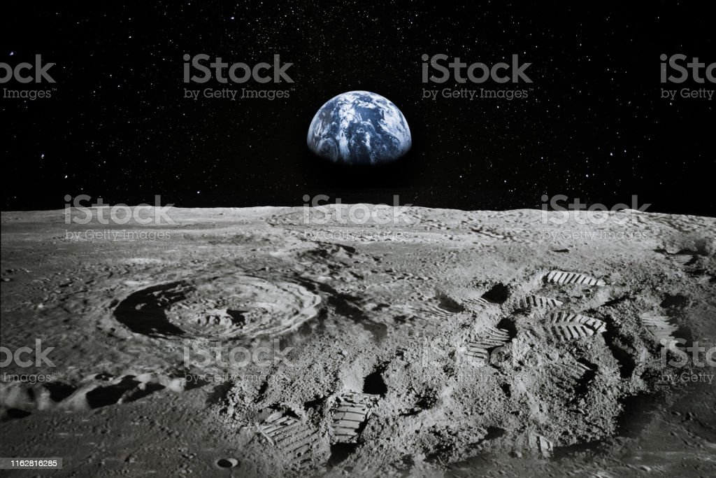 View of Moon limb with Earth rising on the horizon. Footprints as an evidence of people being there or great forgery. Collage. Elements of this image furnished by NASA. View of Moon limb with Earth rising on the horizon. Footprints as an evidence of people being there or great forgery. Collage. Elements of this image furnished by NASA.  /urls: https://images-assets.nasa.gov/image/as11-44-6551/as11-44-6551~orig.jpg https://images.nasa.gov/details-as11-44-6551.html https://images.nasa.gov/details-as17-145-22285.html https://images.nasa.gov/details-as11-40-5964.html https://solarsystem.nasa.gov/resources/429/perseids-meteor-2016/ 1960-1969 Stock Photo