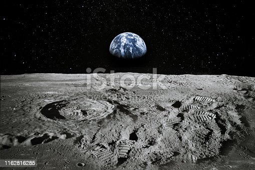 View of Moon limb with Earth rising on the horizon. Footprints as an evidence of people being there or great forgery. Collage. Elements of this image furnished by NASA.  /urls: https://images-assets.nasa.gov/image/as11-44-6551/as11-44-6551~orig.jpg https://images.nasa.gov/details-as11-44-6551.html https://images.nasa.gov/details-as17-145-22285.html https://images.nasa.gov/details-as11-40-5964.html https://solarsystem.nasa.gov/resources/429/perseids-meteor-2016/