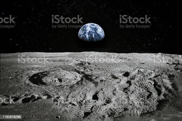 Photo of View of Moon limb with Earth rising on the horizon. Footprints as an evidence of people being there or great forgery. Collage. Elements of this image furnished by NASA.