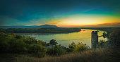 View of Morava river from castle Devin in sunset near Bratislava, Slovakia.