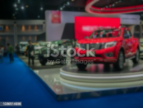 view of motor show exhibition blurred background