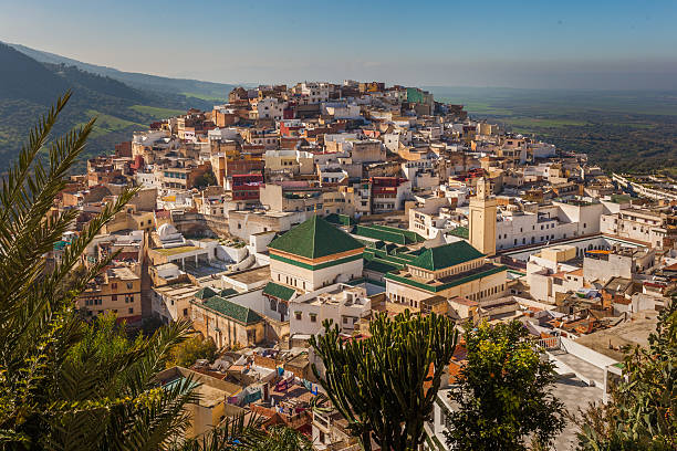 View of Moulay Idriss stock photo