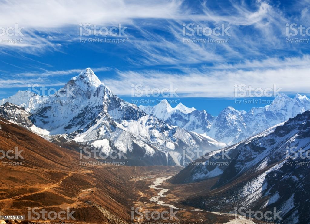 view of mount Ama Dablam with beautiful sky stock photo