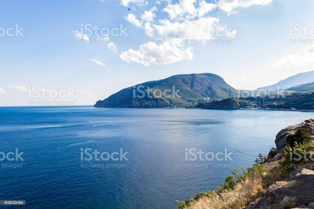 View of Mount Ayu-Dag from cape Plaka Crimea. stock photo