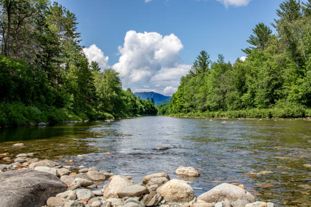 A View of Mount Bigelow from the Carrabassett River in Western Maine stock photo