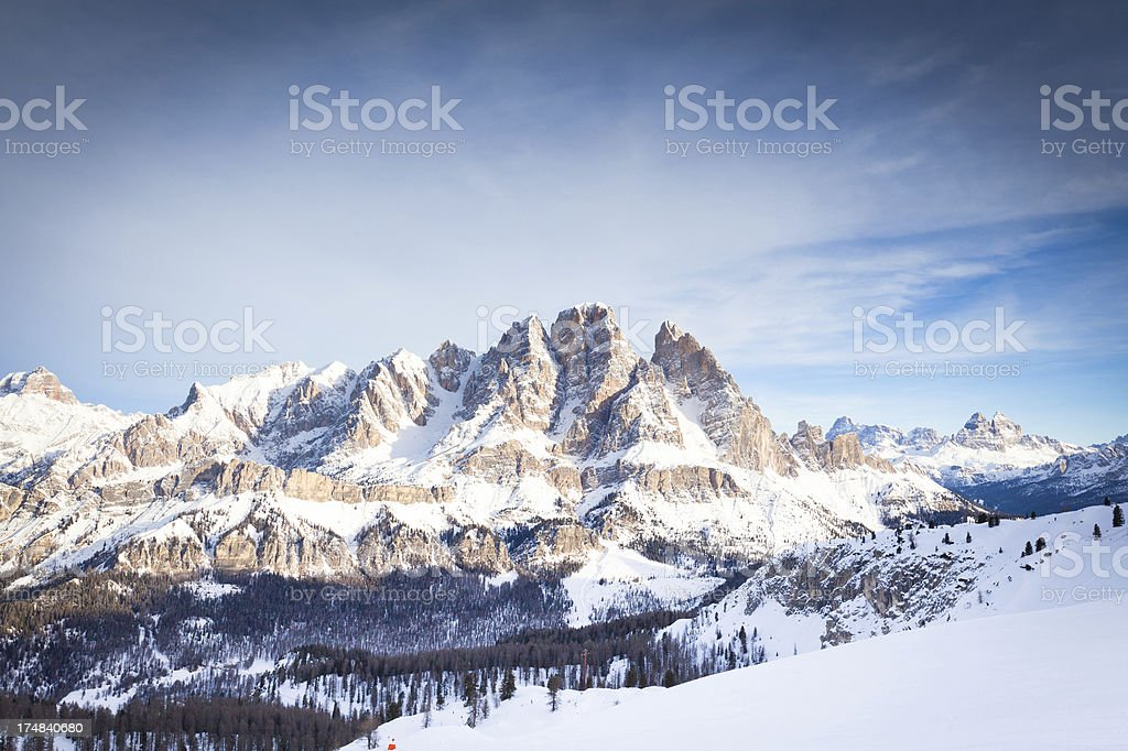 View of Mount Cristallo at Cortina d'Ampezzo stock photo