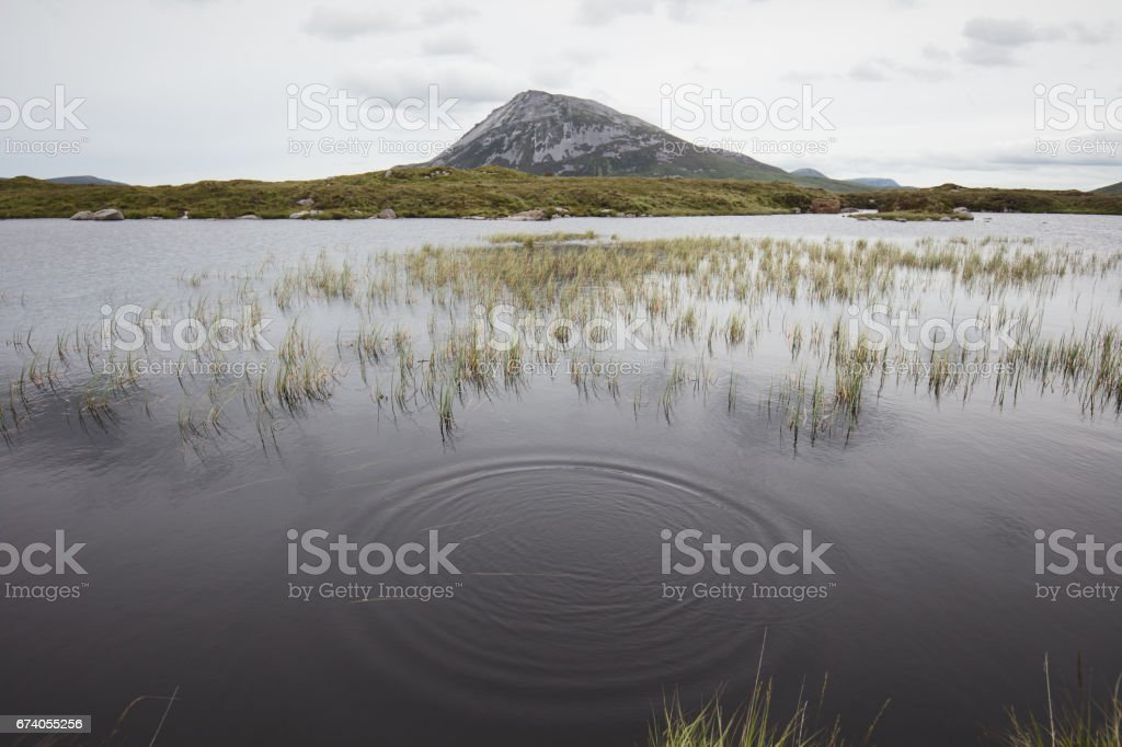 View of Mount Errigal from sleeve snaght loch. Glenveagh.  Co. Donegal, Ireland royalty-free stock photo