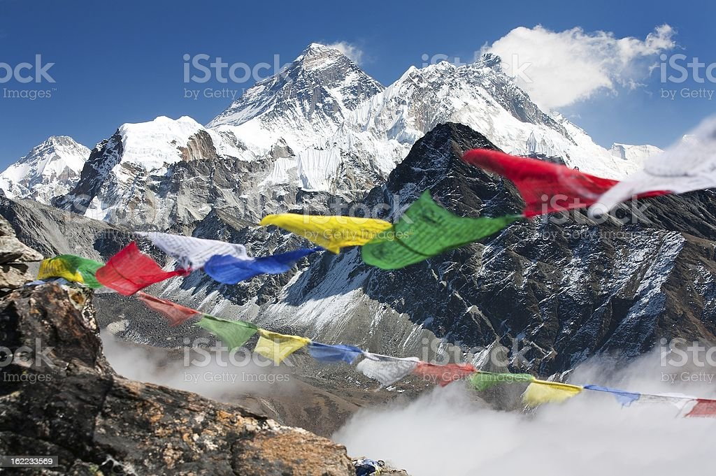 View of Mount Everest from Gokyo Ri stock photo
