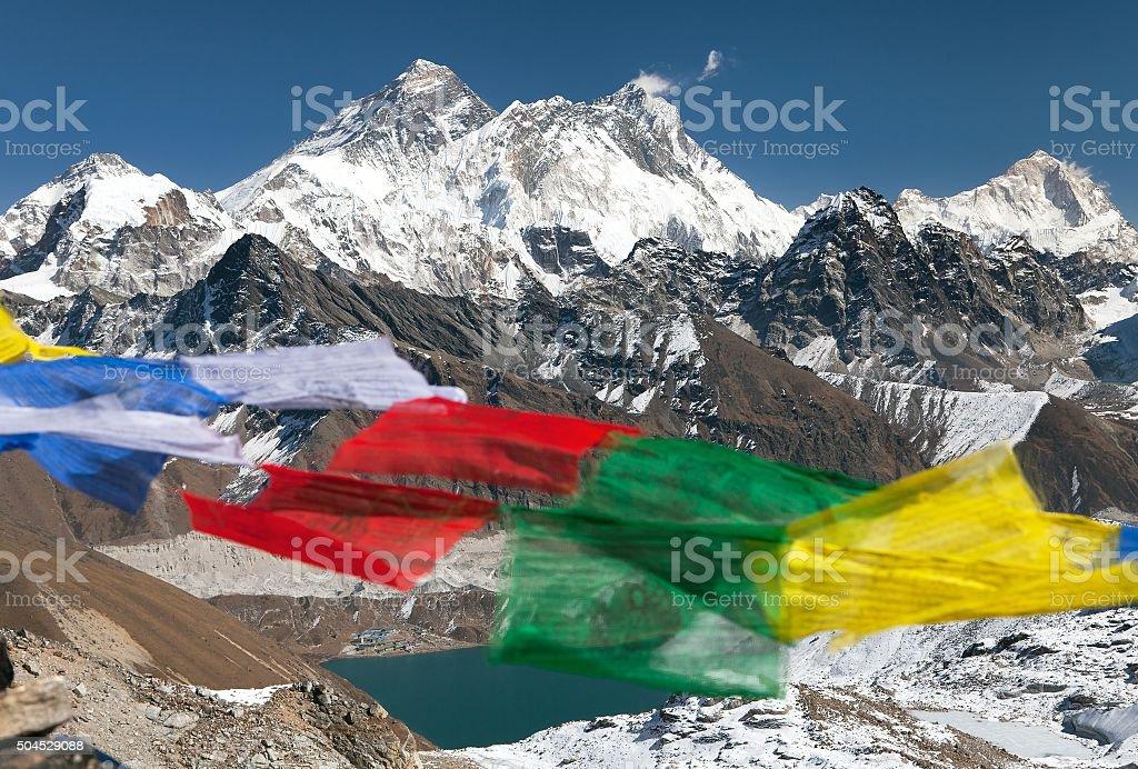 view of Mount Everest, Lhotse and Makalu stock photo