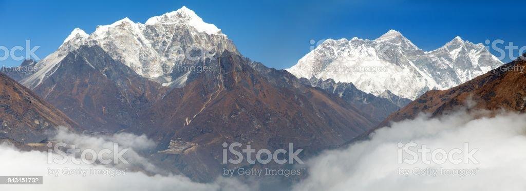 view of Mount Everest, Nuptse rock face, Mount Lhotse stock photo