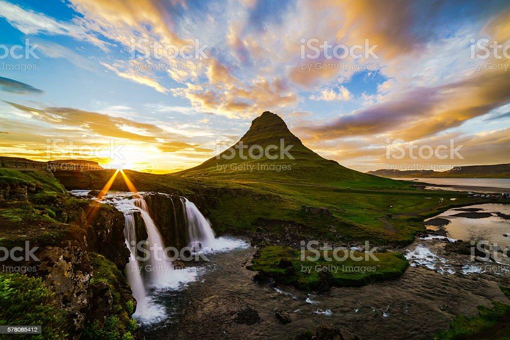 View of mount Kirkjufell and Kirkjufellfoss in Iceland stock photo