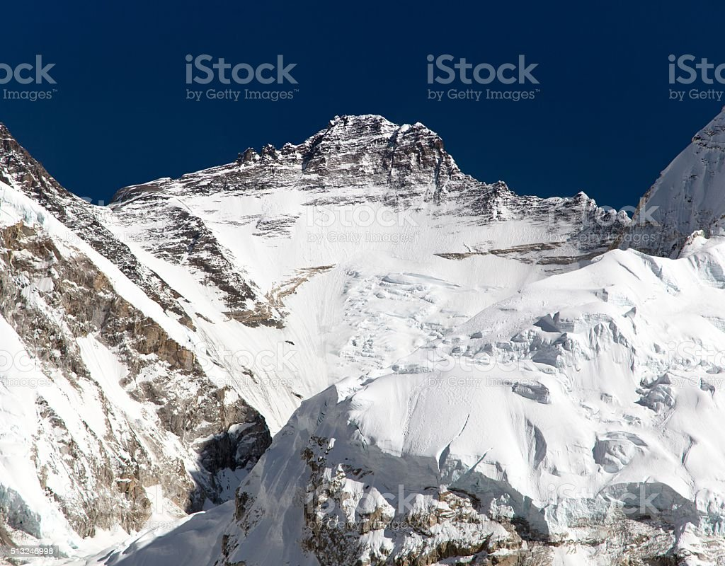 View of mount Lhotse from Pumo Ri base camp stock photo