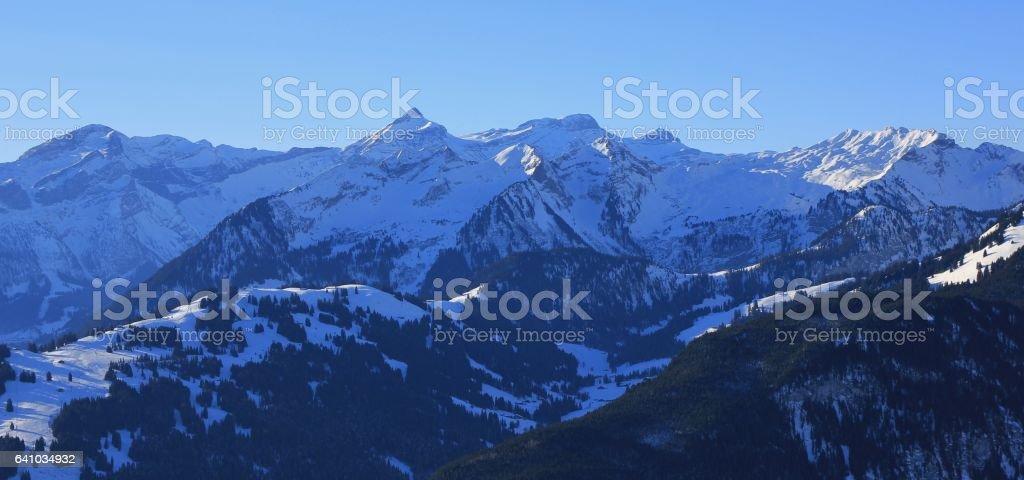 View of mount Oldenhorn and the Eggli ski area. stock photo