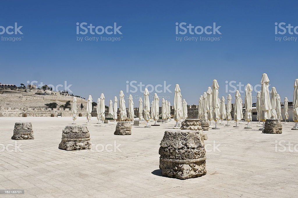 View of Mount Olives from Al Aksa Mosque royalty-free stock photo