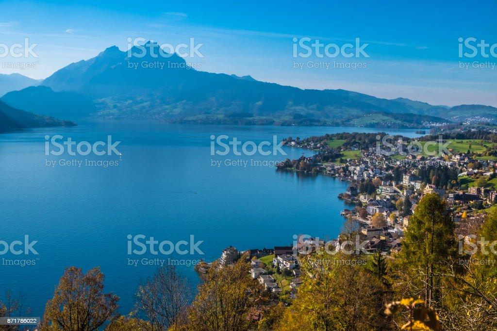 View of Mount Pilatus while hiking Mount Rigi from Weggis (The Mark Twain Trail), Switzerland stock photo