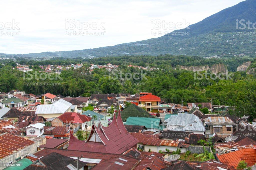 View Of Mount Singgalang From Bukittinggi Stock Photo ...