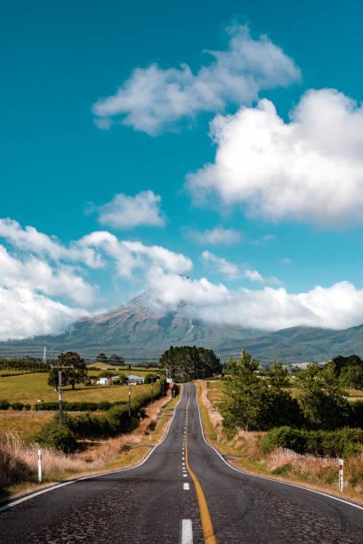 View of Mount Taranaki, New Phymouth, New Zealand. stock photo