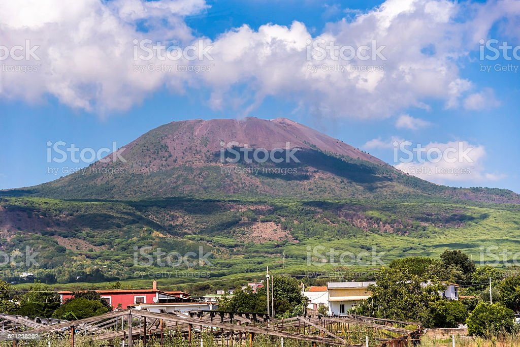 View of Mount Vesuvius on a sunny day stock photo