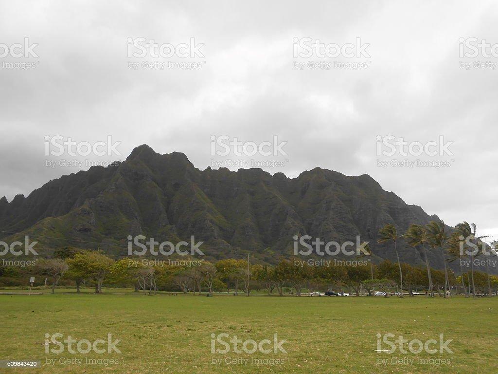 View of Mountain from Kualoa Regional Beach Park in Hawaii. stock photo