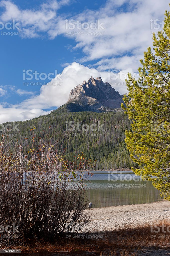 View of mountain peak from the beach. stock photo