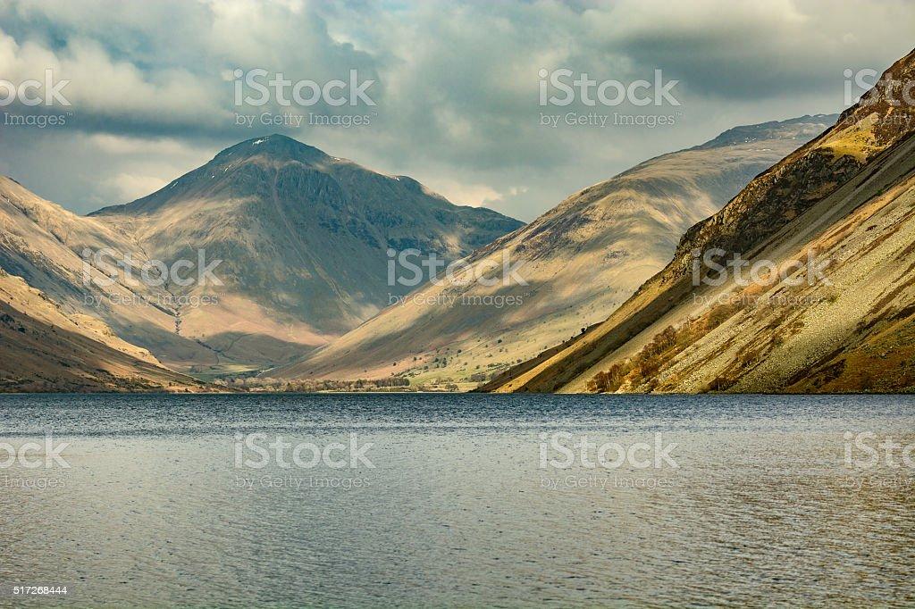View Of Mountain Range At Wastwater Lake. stock photo