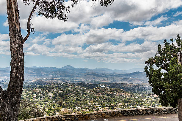 View of Mountain Range in San Diego From Mt. Helix stock photo