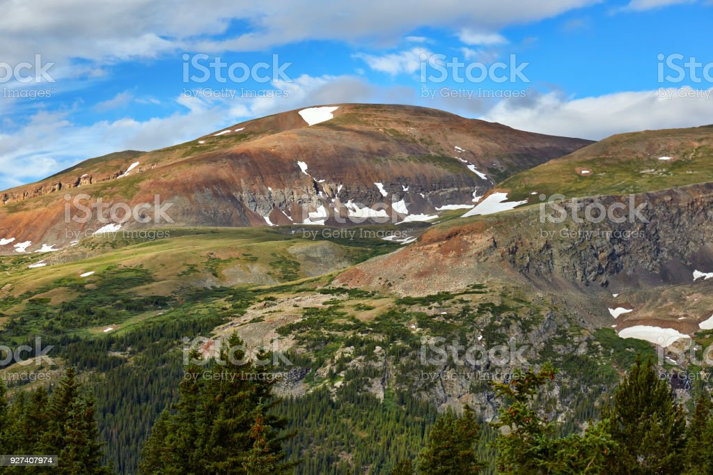 View of mountain scenery at Hoosier Pass, Colorado stock photo