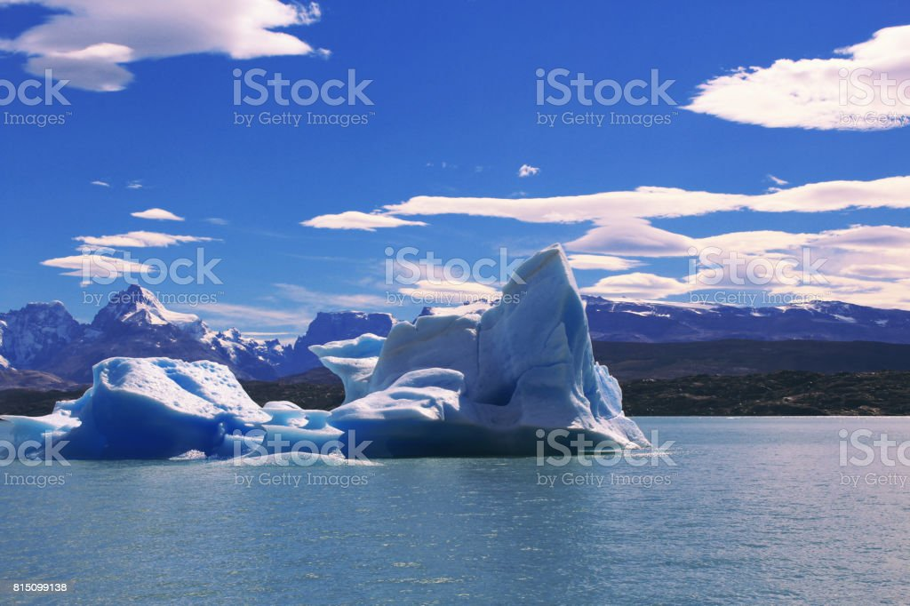 View of mountains and glaciers, Patagonia stock photo
